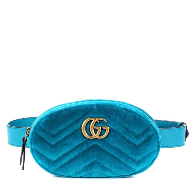 a56f21096fe88f Authentic Gucci Velvet Belt Bag in Turquoise, Luxury, Bags & Wallets on  Carousell