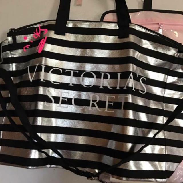 4694cdbe3 Authentic Victoria's Secret Large Black & Silver Stripe Canvas Tote ...