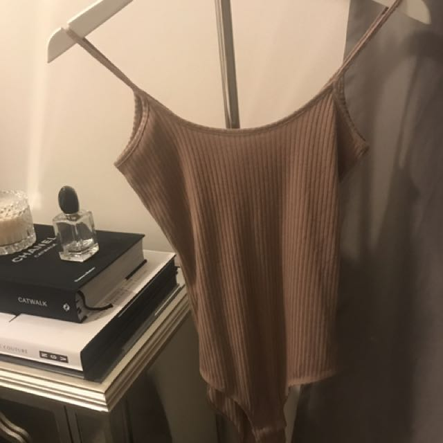 Bardot Ribbed Beige Bodysuit