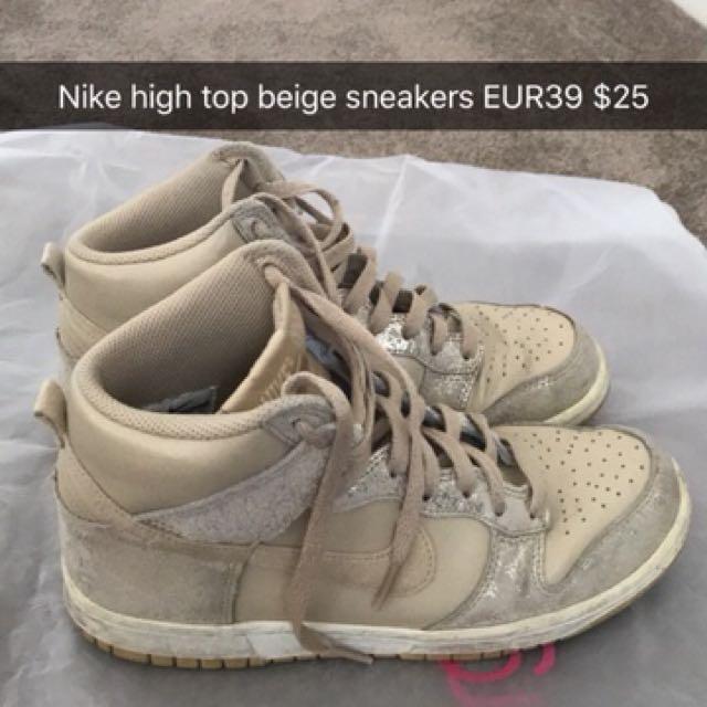 Beige Nike high top sneakers