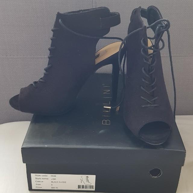 Billini black suede heels size 5