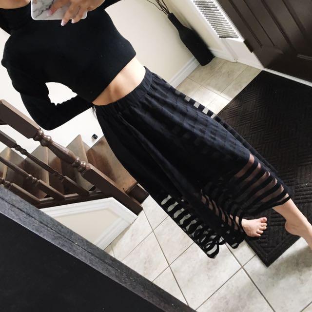 Black chiffon skirt size S