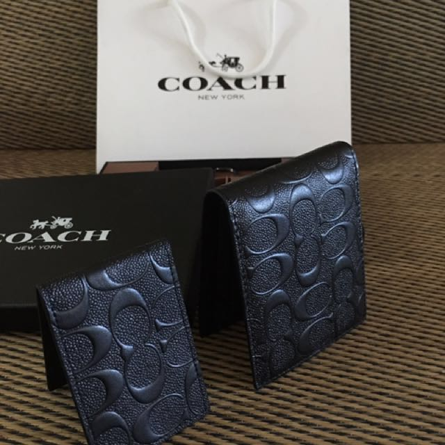 Black Coach man Embossed short wallet
