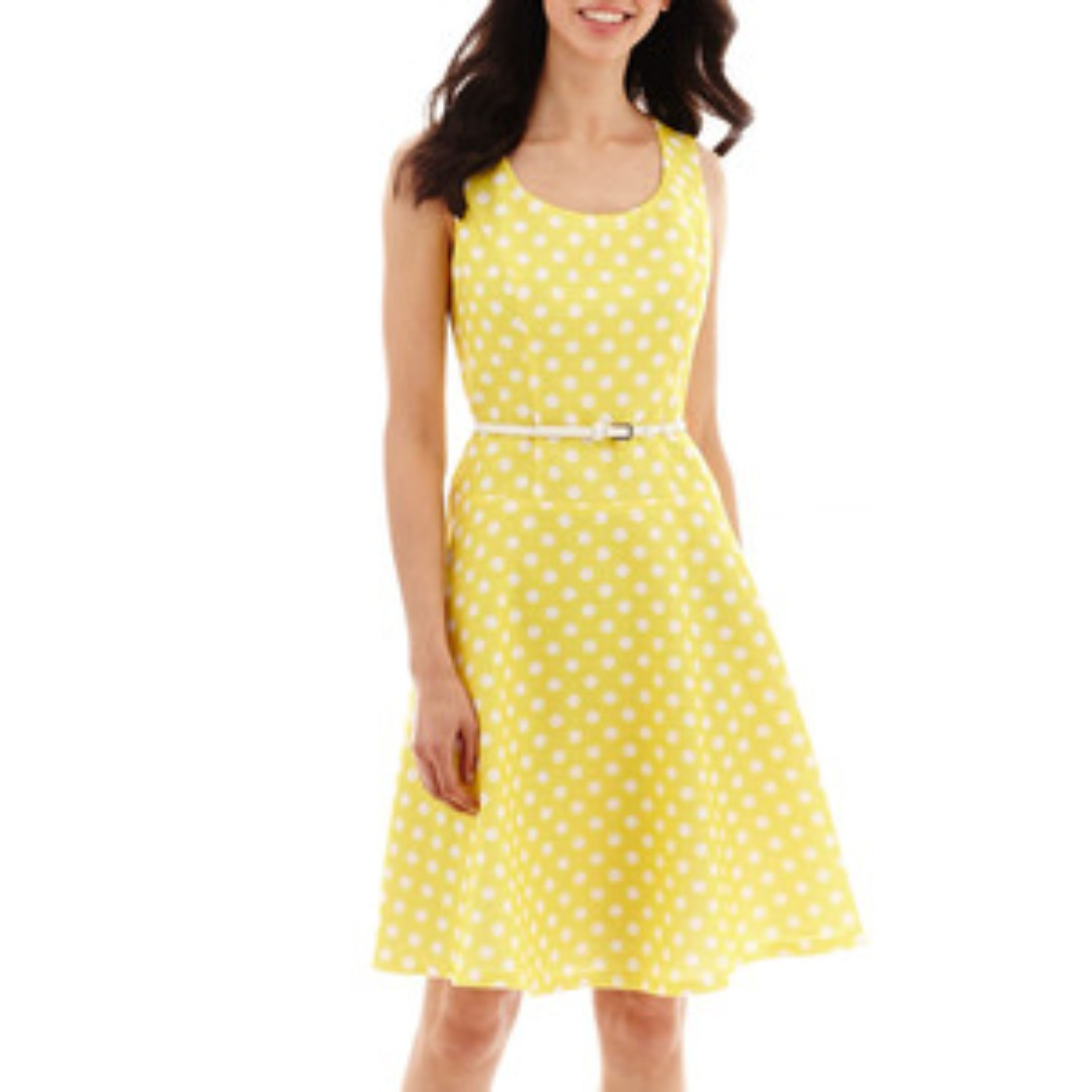 Black Label by Evan-Picone Polka Dot Dress Yellow