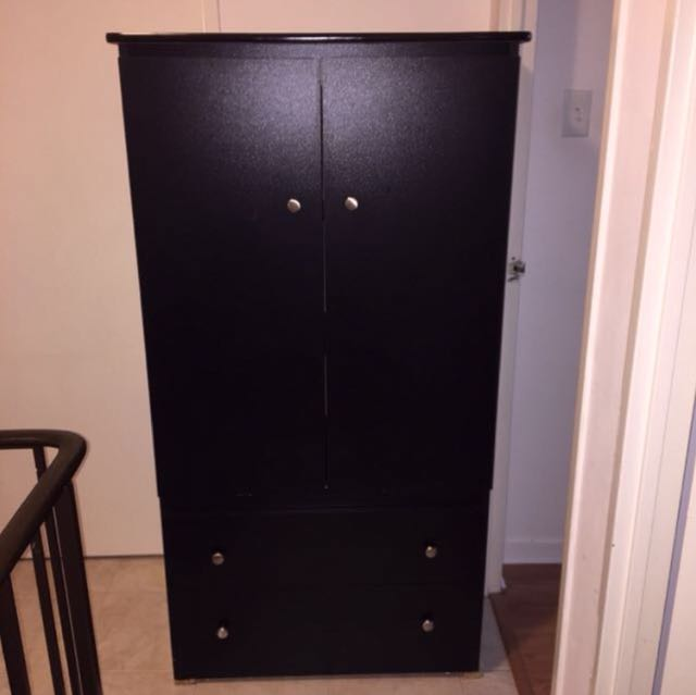 BLACK WARDROBE WITH DRAWERS