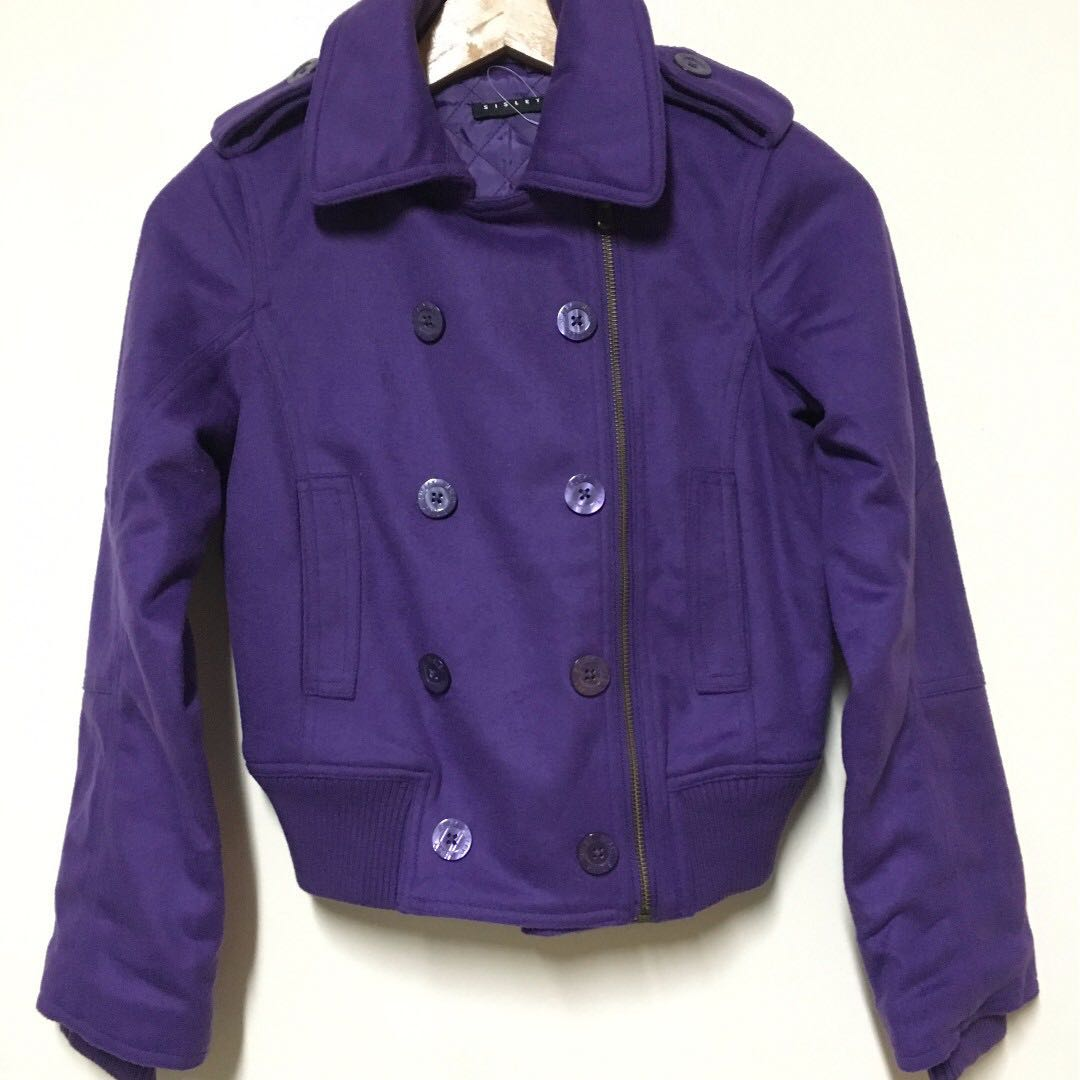 BNWOT Sisley Wool Purple Winter Jacket