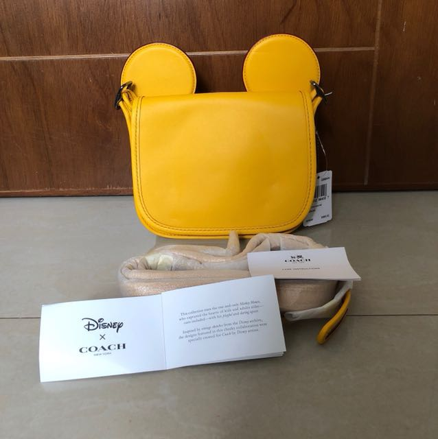 BNWT Disney X Coach Mickey Patricia Ear Bag Colour Banana