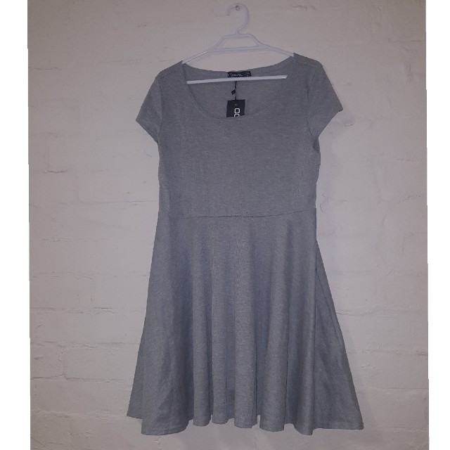 BNWT Size 14 Grey Ribbed Skater Dress