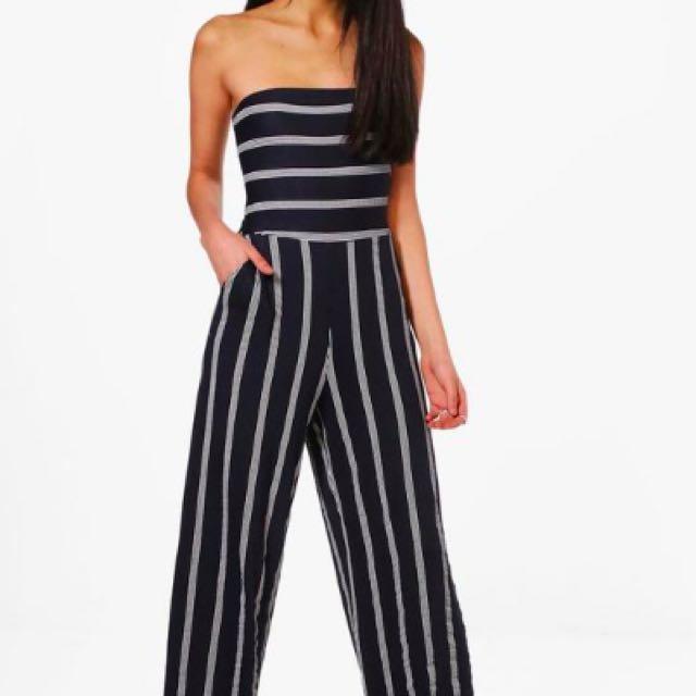 Boohoo Striped Jumpsuit
