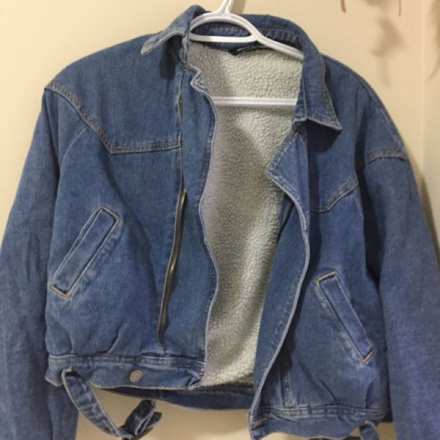 Brandy Melville Denim Fur Cropped Jacket
