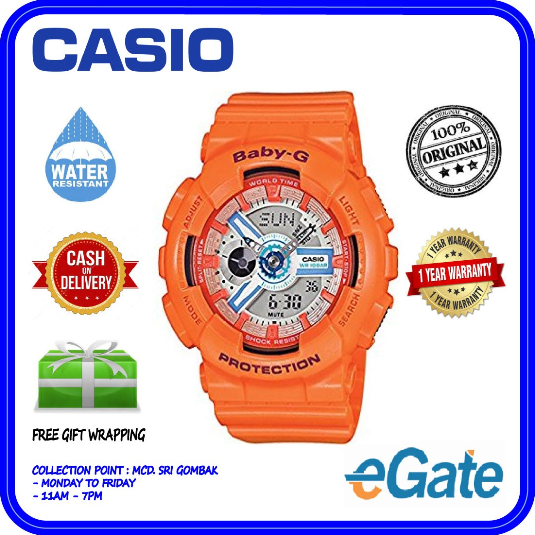 Casio Baby G Ba 110sn 4a Ladies Analog Digital Sporty World Time 3a Orange Watch Womens Fashion Watches On Carousell