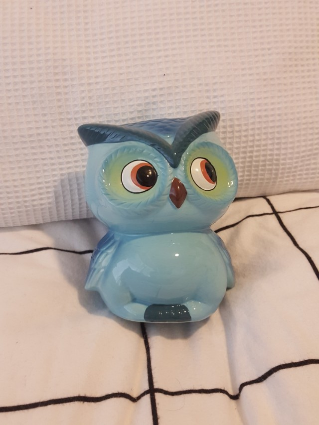 Ceramic blue owl money tin