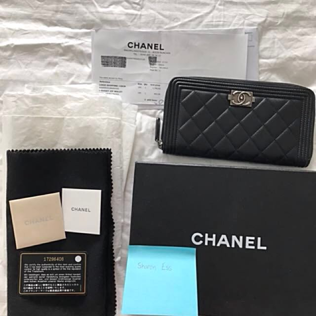 Chanel Lambskin Boy Wallet Rare Black with Ruthenium HW Free Posting