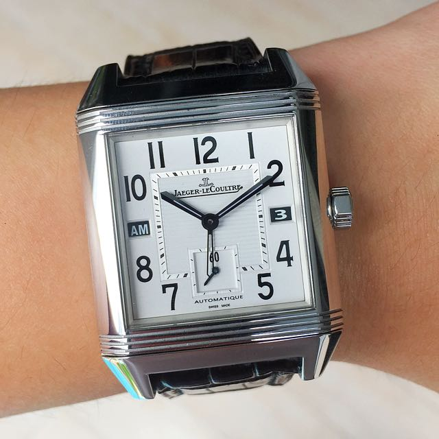 hands on reverso tribute watch watches lecoultre pin calendar the jaeger