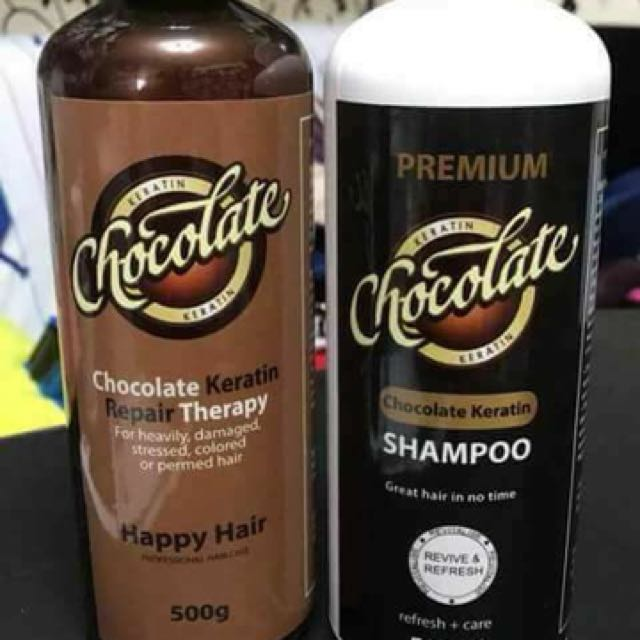 Chocolate shampoo and keratin treatment