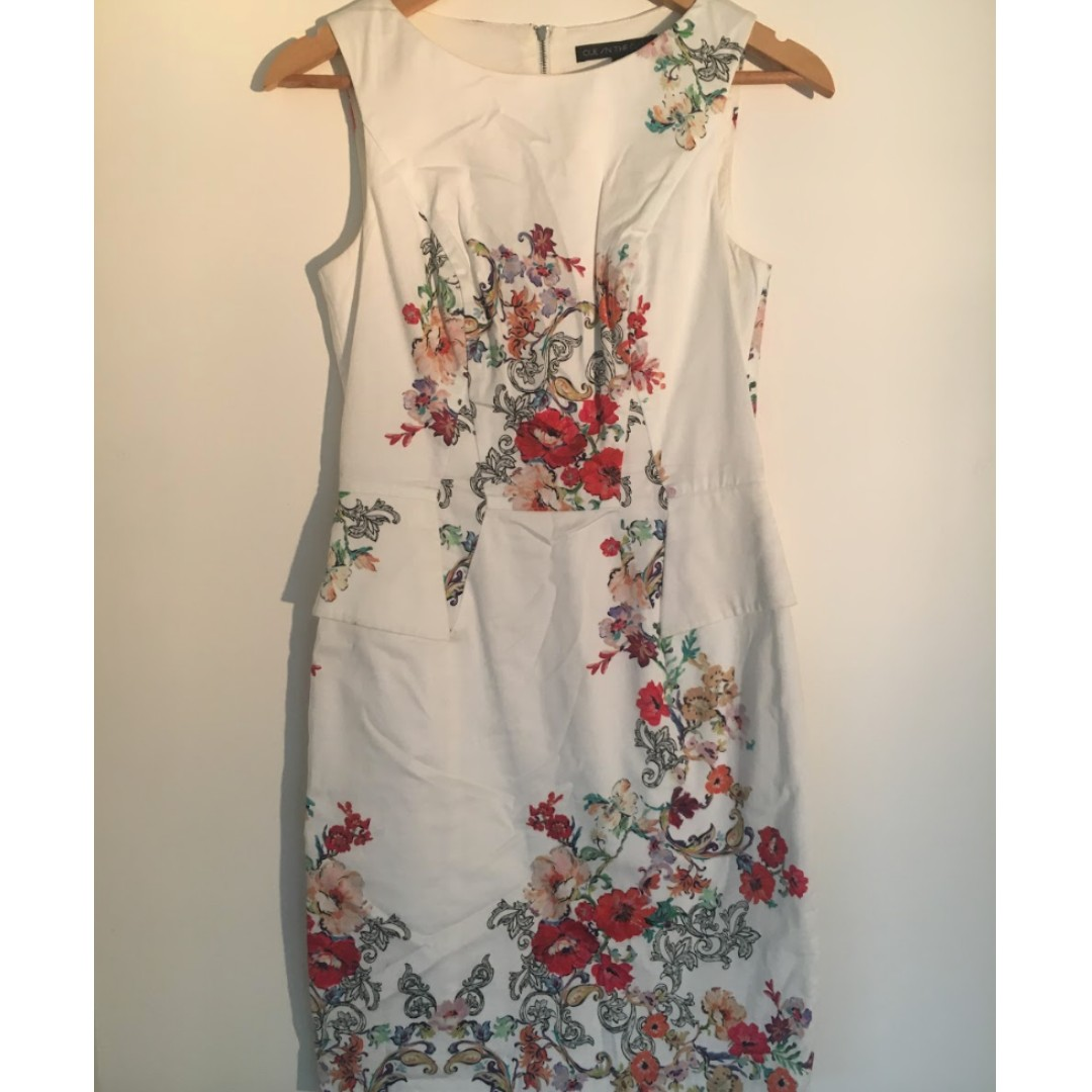 Cue Floral White Peplum Pencil Dress - Size 8