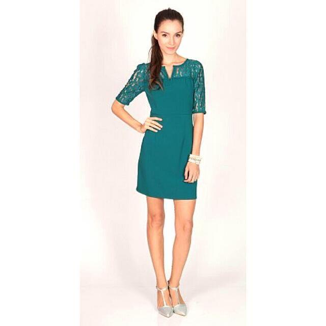 Dressabelle V-cut Lace Neckline Sleeve Dress In Teal (L)