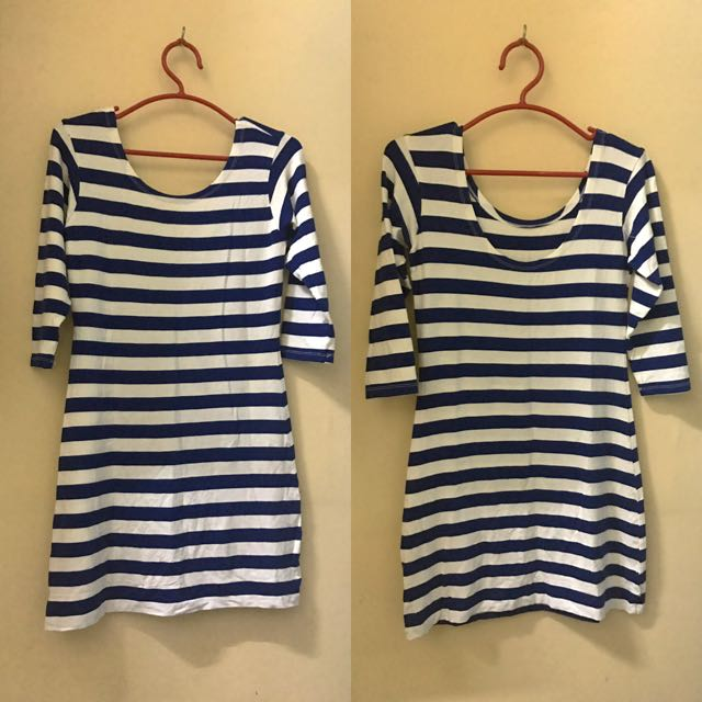Fit Dress with blue stripes