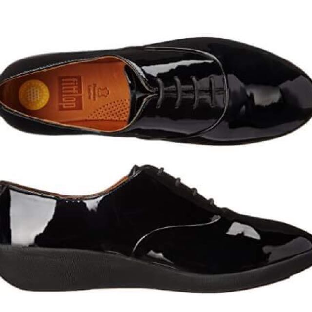 Fitflop black patent oxfords