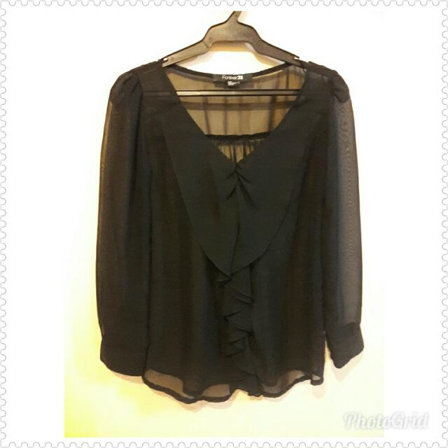 Forever 21 Black Chiffon Top