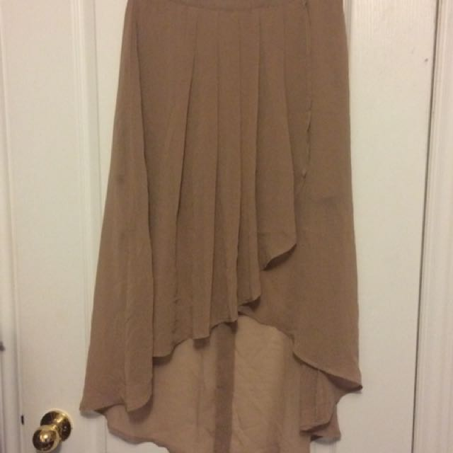 Forever 21 Hi-Lo Beige Skirt - Medium