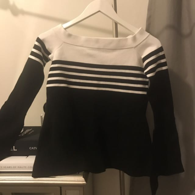 Forever New White & Black Off The Shoulder Top