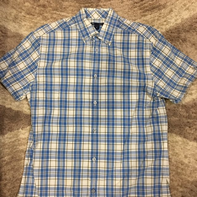 Gap checker short sleeve shirt blue size xs
