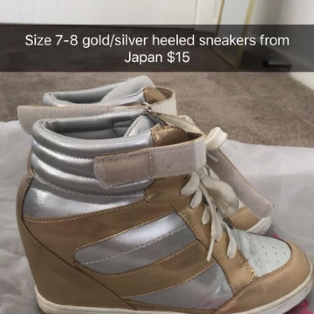 Gold silver heeled sneakers