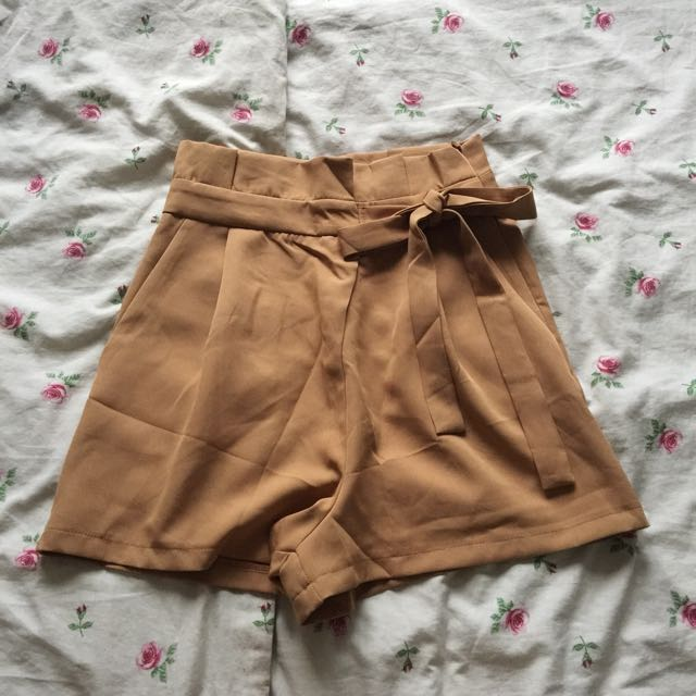 High Waisted Brown Paperbag Ribbon Shorts