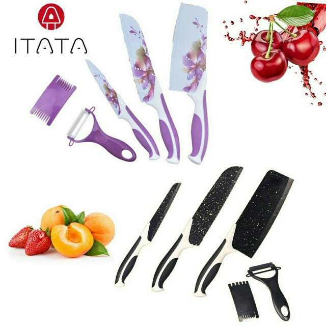 🔥Hot Sale!!🔥Stainless Steel Stone Flowery Kitchen Knife - Set of 5 (3 Design)