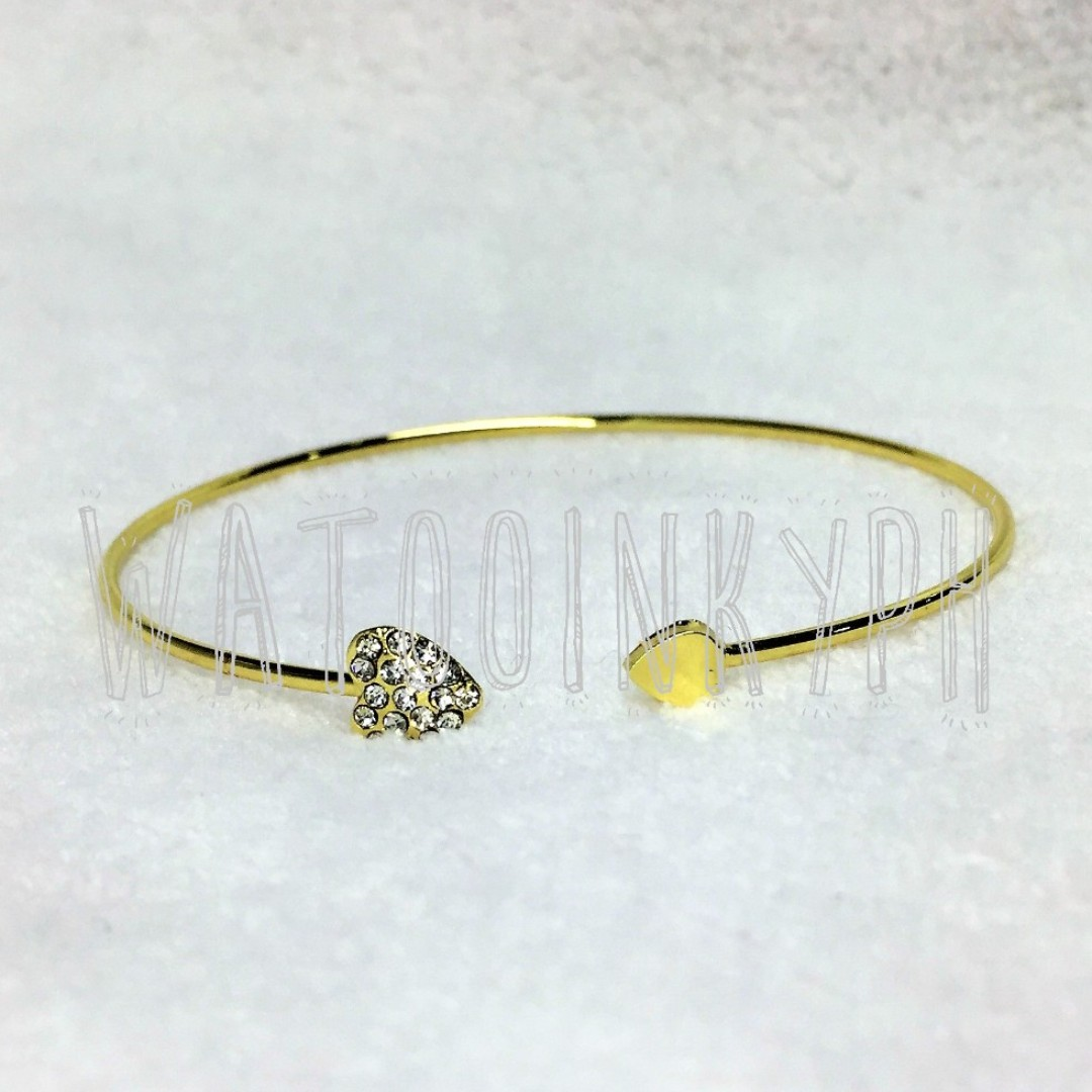 I Love You with My Golden Heart Open Bangle