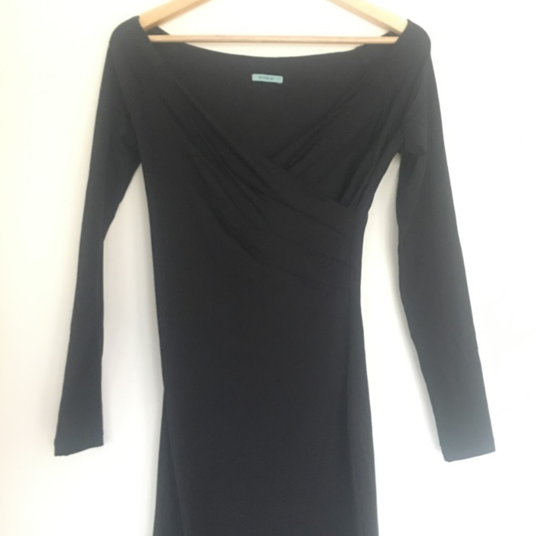 Kookai Off Shoulder Black Midi Dress - Size 1
