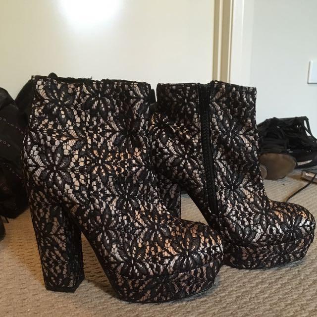 Lace platform ankle boots