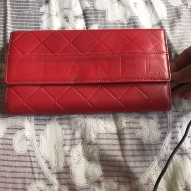 Long wallet chanel red