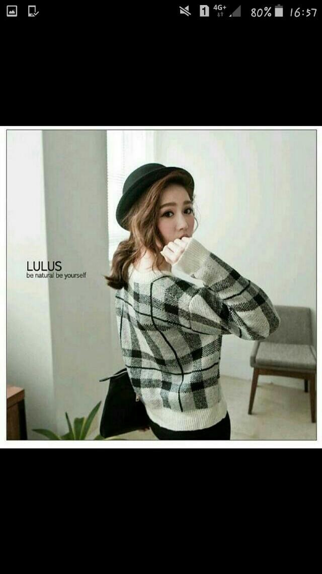 LULUS 配色 黑白 格紋 短版 針織上衣 #冬季衣櫃出清 #好物任你換