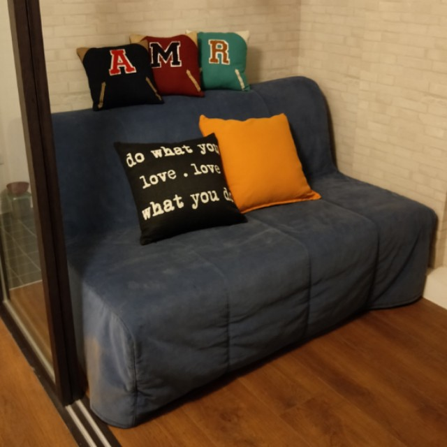 IKEA LYCKSELE MURBO雙人沙發床(深藍)