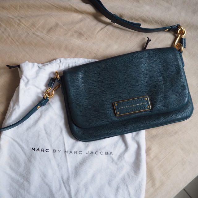 Marc Jacobs 深藍綠色牛皮肩背包