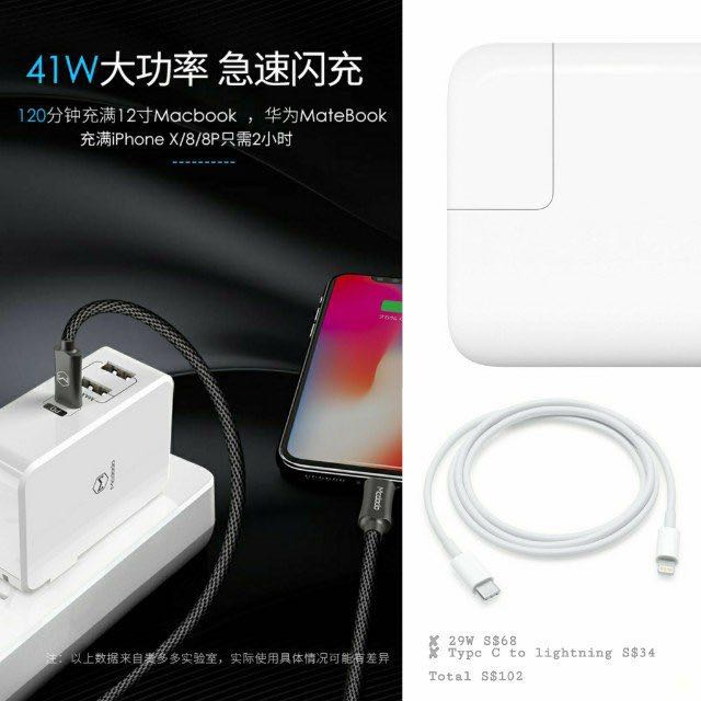 Mcdodo 41W Fast Charger with Power Delivery (iPhone X/8/8+)