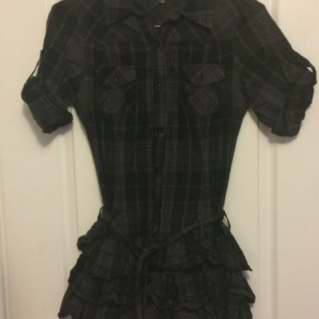 Me Chateau Black Plaid Dress - S