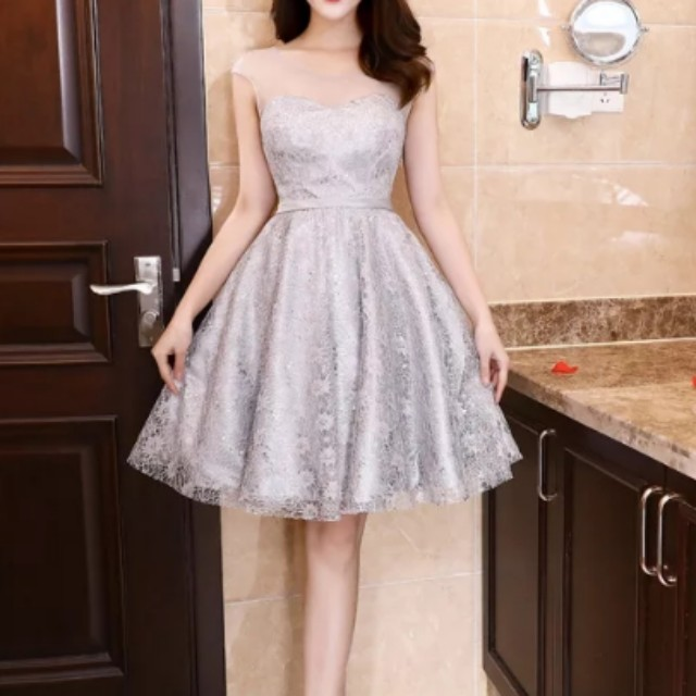 Mesh design grey Dress / evening gown, Women\'s Fashion, Clothes ...