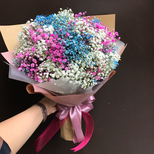 Mixed baby breath bouquet