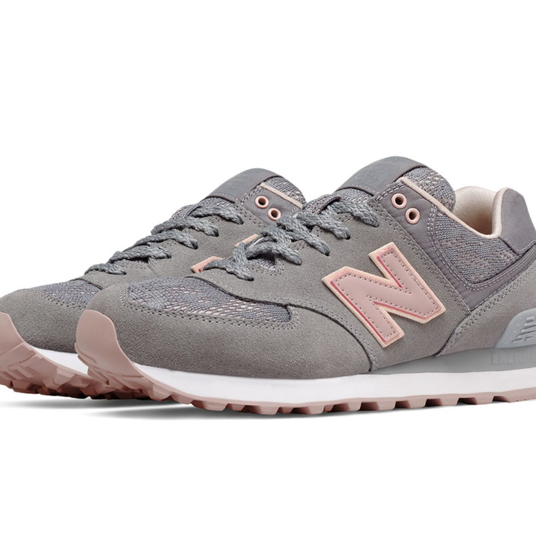 New Balance 574 Sneakers - Grey with Baby Pink & Pastel Pink- Nouveau Lace