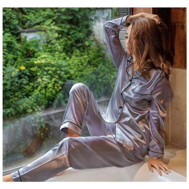 [NEW] Women Sleepwear Silk Satin Pyjamas Set Long Sleeves Long Pants