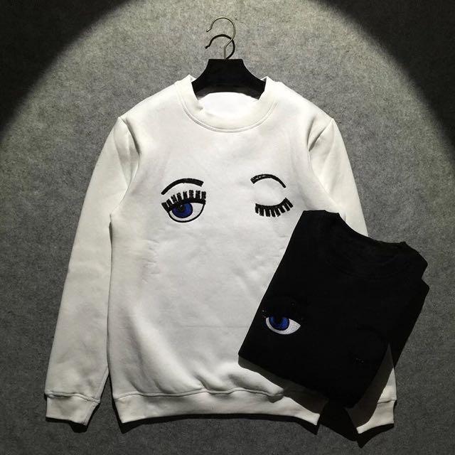 [NEW] Women Wink Eye Eyelash White Long Sleeve Sweater Sweatshirt
