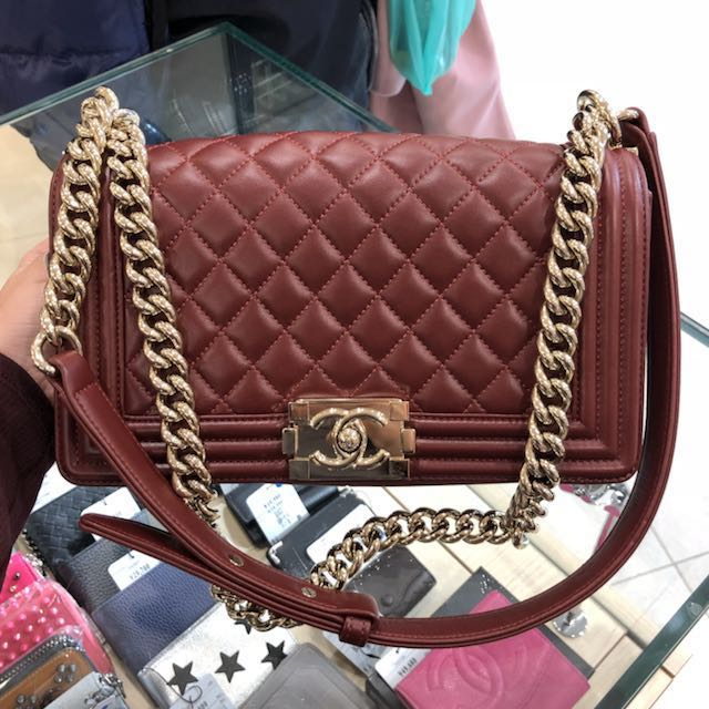 8f0cadf8068e NOW IN JAPAN  authentic chanel boy bag in burgundy wine red and ...