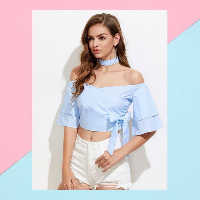 Off Shoulder Ruffled Sleeve with Choker