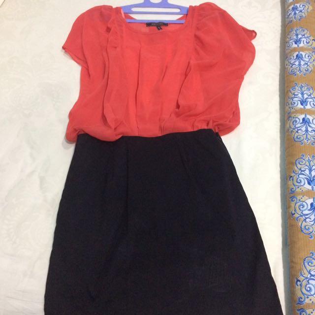 Orange black dress