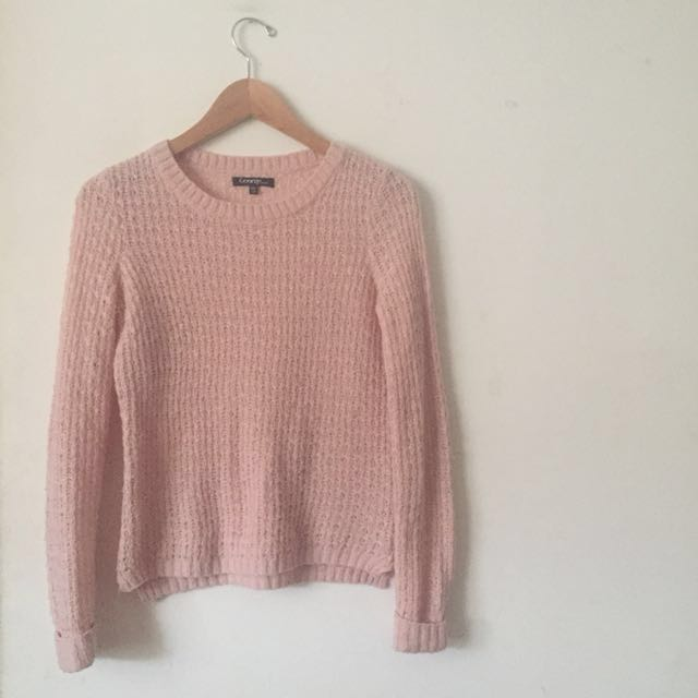 Pink loose knit sweater