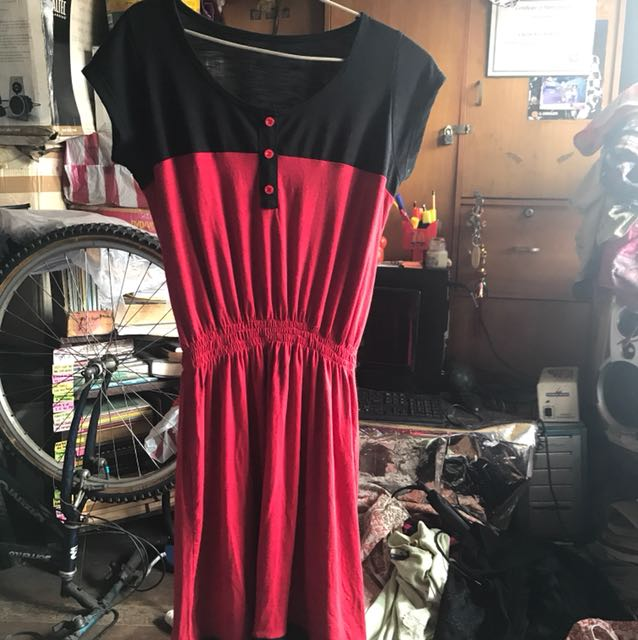 Plus size black and red dress