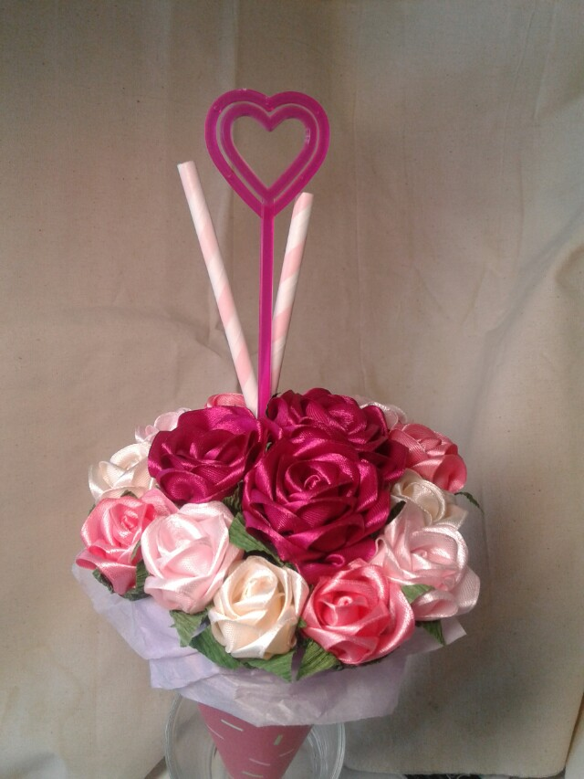 PO FOR VALENTIBES DAY - Ribbon Rose Bouquet, Design & Craft ...